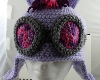 Crocheted Pony Aviator's Helmet in Lavender with Purple and Pink Goggles and Hair (made to order)