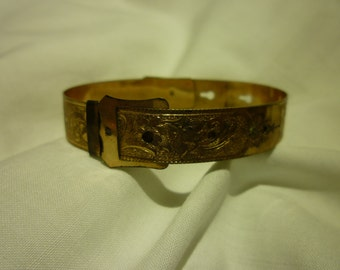 B29 Gold Filled Etched Victorian Era Bracelet.