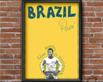 Pele Retro Poster - Football Legends Series - Print, Wall Art