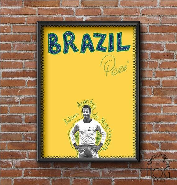 Pele Retro Poster Football Legends Series Print Wall Art