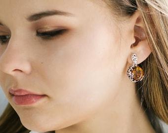 Amber Stud Earrings, Amber Earrings, Amber Jewelry, Natural Gift Jewelry,  Gemstone Earrings