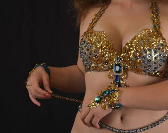 Bellydance costume belly dance outfit AquaGold