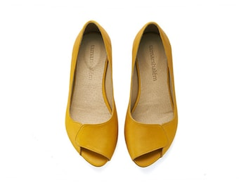 High quality womens leather peep toes, Aya yellow, comfortable dress shoes by Tamar Shalem