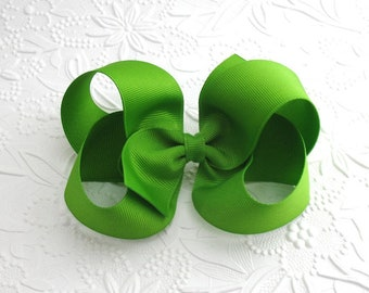 "Large Apple Green Boutique Hair Bow ~ 5"" Hair Bow ~ Extra Large Hair Bows ~ Toddlers, Girls, Green Christmas Hair Bow Clip"