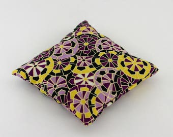 Lavender pillow, fabric colorful geometric shapes