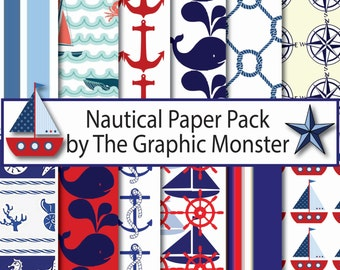 Digital Scrapbook Paper Nautical, Nautical, Nautical Paper, Nautical Scrapbook Paper, Nautical Scrapbook Paper, Instant Download, Nautical