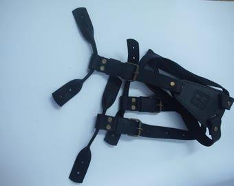 Mens Leather Suspenders Y-Back Vintage Black Braces Button Suspender Wedding Suspendersrs Groom Suspenders Men's