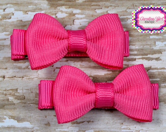 Hot Pink Hair Bow Set of 2 Small Hairbows - Girls Hair Bows - Clippies - Baby Hair Bows - Mini Hair Bow Sets