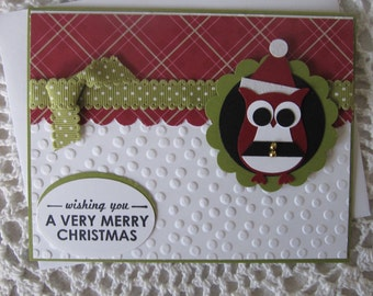 Handmade Greeting Card: Christmas Owl