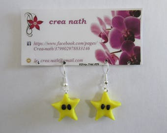 earring type mario star polymer clay