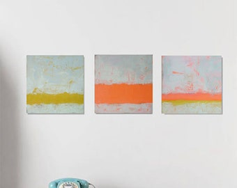 Art Painting,Abstract acrylique canvas ,ORIGINAL MINIMALIST PAINTING x 3 ( 8 in x 8 in )