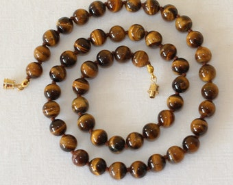 8mm Tiger Eye Necklace - VARIOUS Length Options Hand Knotted. Brown Tiger Eye / Tiger's Eye Stone. Therapeutic. MapenziGems