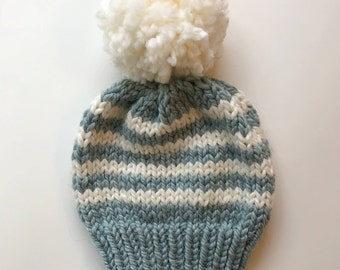 Striped Knit Hat // Chunky Hand Knitted Hat // Knit Hats // Knit Beanie // Chunky Knit // Two Colors