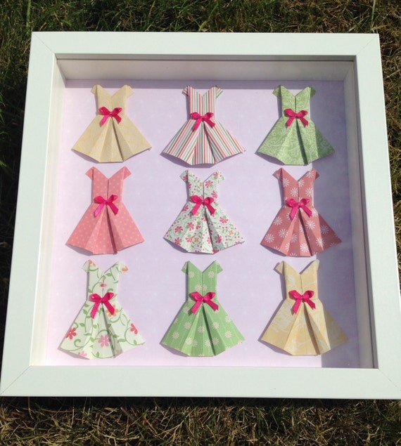 Box Frame With Mini Origami Dress