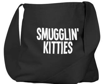 Smugglin Kitties Black Organic Cotton Slouch Bag
