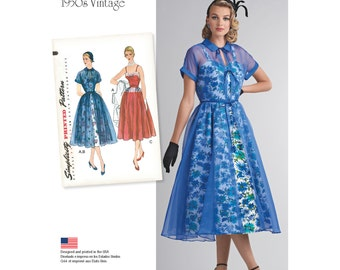 Simplicity Pattern 8252 Misses' 1950's Dress and Redingote