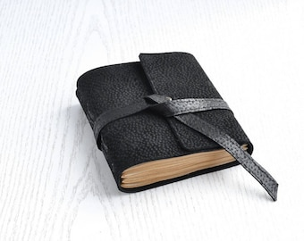 Leather notebook Pocket notebook Black leather journal Small journal Antique paper notebook Leather notepad Hand bound journal Blank book