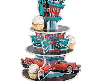 The great  50's Cupcake Holder/ Centerpiece/ treat holder/ centerpiece / 50's Theme Party / rock and roll theme
