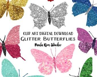 Pretty Glitter Butterfly Clipart, Instant Download, Butterflies, Glitter Clip Art, Commercial Use, Wedding Clipart