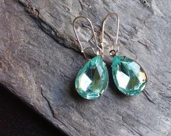 Aquamarine earrings, light blue glass jewel earrings, teardrop earrings, something blue, bridal earrings, estate style earrings