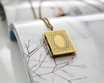Antique Bronze Book Locket - Personalized Locket Necklace- Stamped initial