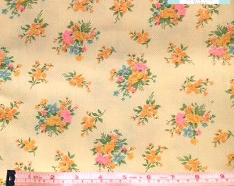 Vintage Yellow Waffle Fabric with Bright Bouquet, 1 yard