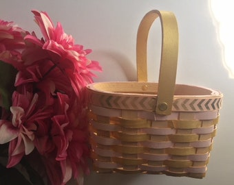 Rose Gold Wooden Basket