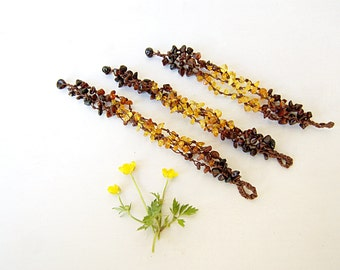 Natural Baltic amber bracelets gift for bridesmaids set of 3 - organic amber ombre bracelet