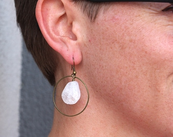 Ice Flake Quartz Hoop Earrings in Brass