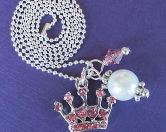 Halskette Kronjuwelen Strass Prinzessin Tiara Charm Swarovski Kristall Halskette rosa Mädchen Kinder zwischen Teen Schmuck Geburtstagsgeschenk