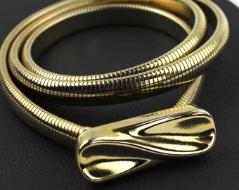 Thin Gold Metal Elastic Belt