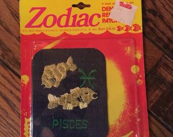 Vintage 1970's Zodiac Denim Repair Patch Postcard Pisces Three Fish