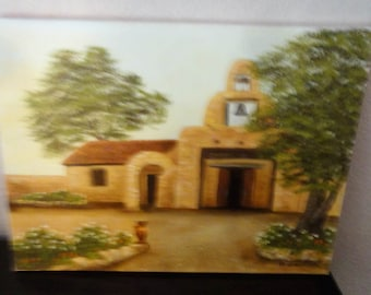 Small Mission Oil On Canvas/ Bell/ Signed M. Saunders