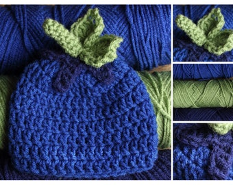 Crochet Blueberry Hat - Newborn, Infant, Child, Teen, Adult Size