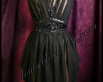 The Louise Black Venom Dress with Hand Beaded Victorian Jet Waist Belt in Silk Chiffon