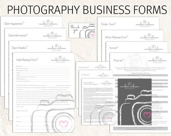 Photography business forms kit pink grey white sketch camera photography business forms kit sketch camera style editable templates 13 psd files supplied fbccfo