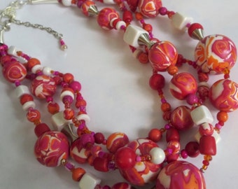 Red. Pink. Orange. White. Multistrand Polymer Clay Beaded Necklace. HAWN 4.