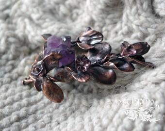 Amethyst branch brooch sweater pin shawl pin real crystal electroforming wedding boutonniere 7th anniversary boho copper wedding brooch