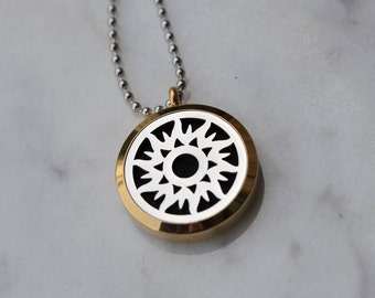 Stainless Steel Two Tone Essential Oil Diffuser Necklace/Aromatherapy Diffuser Necklace/With 2ML Essential Oil