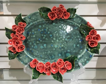 Rose Serving Platter Handmade Pottery