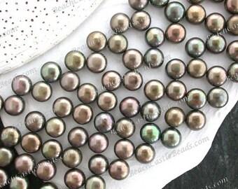 1 Strand ~ 7.5 x 5mm Olive Green Iris Fresh Water Button Pearls, Green Iris Pearls, Destash Pearls, Destash Supplies DS-946