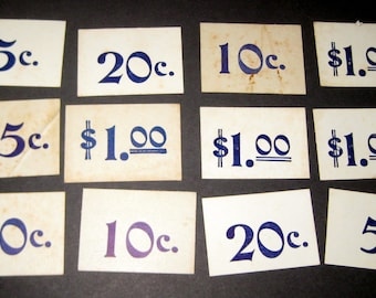 12 Cardboard Price Tags for Altered Art, Collage, etc.