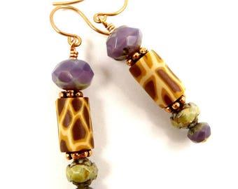 April the Giraffe Purple Earrings Everyday Earrings Dangle Earrings Drop Earrings Animal Jewelry Gift for Her Animal Lover Gift Giraffe