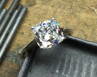 Cushion Cut Engagement Ring, Engagement Ring, CZ Engagement Ring, Cushion Cut Ring, Antique Setting
