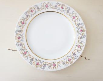 Large Vintage Floral Dinner Plate