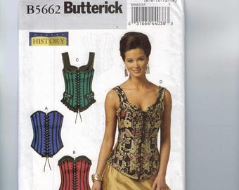 Misses Sewing Pattern Butterick B5662 5662 Making History Corset Stays Victorian 19th Century Size 6-14 or 14-20 UNCUT Costume Halloween