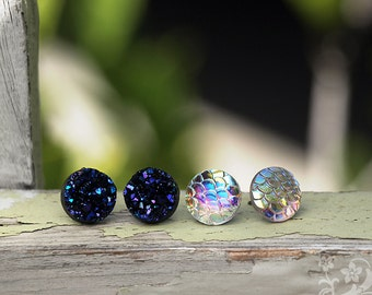 Dragon Scales and Midnight Faux Druzy Studs, Stainless Steel Post Earrings, Titanium Post Earrings, Purple Black Glitter, 2 Pair Set, 12mm