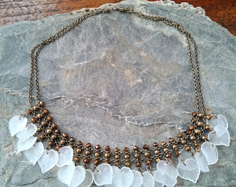 Frosted Leaves Fringe Necklace