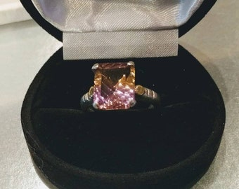 Ametrine ring, sterling silver with gold. Size 8.