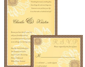 Sunflower Wedding Invitation Sample Set